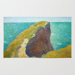 Le Bec du Hoc Grandcamp Georges Seurat - 1885 Impressionism Modern Populism Oil Painting Rug