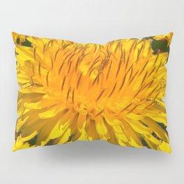 YELLOW DANDELIONS  & DARK MOSS GREEN ART DESIGN Pillow Sham