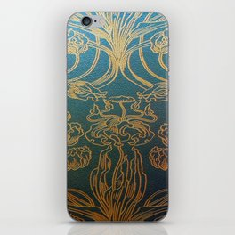 Art Nouveau,teal and gold iPhone Skin