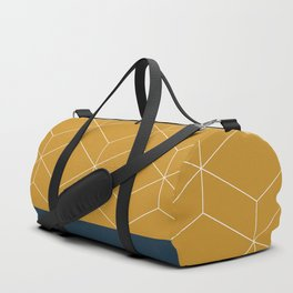 Geometric Honeycomb Lattice Color Block in Mustard Gold, White, and Navy Blue Duffle Bag