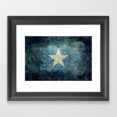 Somalia national flag (officially the Federal Republic of Somalia) Vintage version to scale Framed Art Print