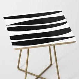 Irregular Stripes Black White Waves Art Design Side Table
