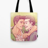 golden Tote Bags featuring Golden by Daunt