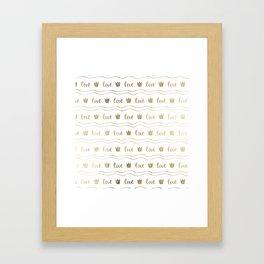 Modern faux gold crown waves stripes love typography Framed Art Print
