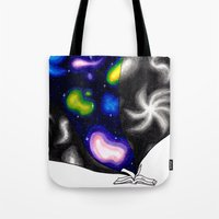 reading Tote Bags featuring Reading by BevyArt
