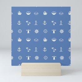 Nautical Symbols Blue Background Mini Art Print