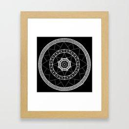 Zen Star Mandala - Black White - Square Framed Art Print