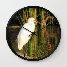Egret at the lake Wall Clock