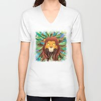 simba V-neck T-shirts featuring Spirit of The Lion King by EmeraldSora