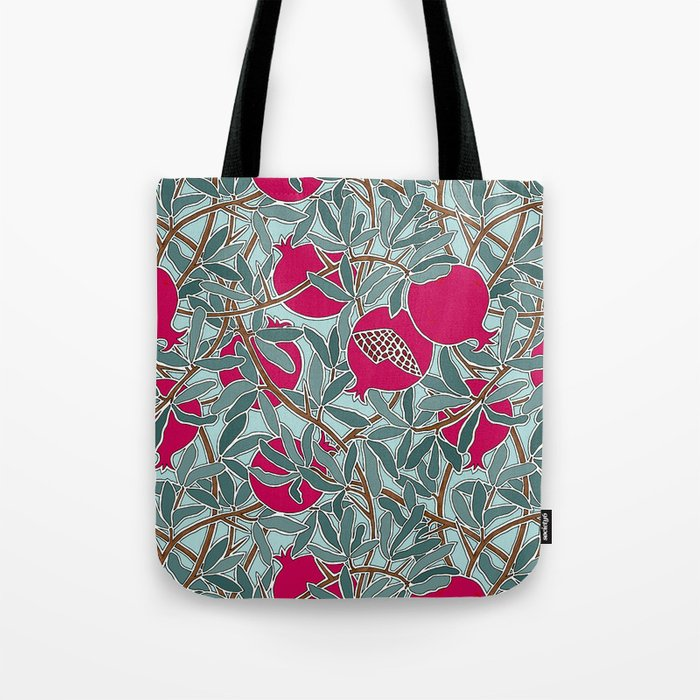 Pomegranates, Fruit, Leaves, Branches in Teals and Fuchsia Tote Bag