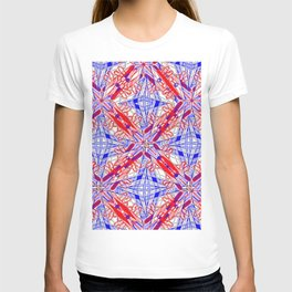 Tile #3 Blue & Red 4 Pointed Star on White T-shirt