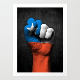 Chilean Flag on a Raised Clenched Fist Art Print