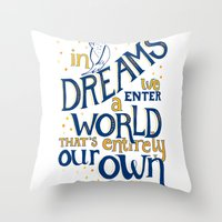 dumbledore Throw Pillows featuring Albus Dumbledore by Nicola Davies