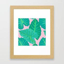 Giant Elephant Ear Leaves in Light Pink Framed Art Print