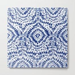 Indigo Blue Tie Dye Textile Pattern Metal Print