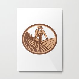 Organic Farmer Sowing Seed Woodcut Retro Metal Print