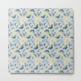 Fluttering in Grey and Yellow Metal Print
