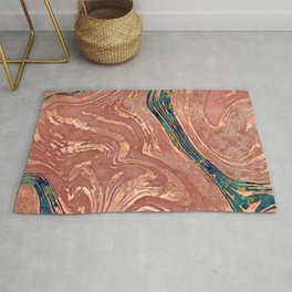 Abstract Rose Marble and quartz crystal Texture Rug