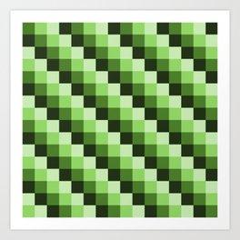 Green Monochrome Mosaic Pixl Checks Pattern Art Print