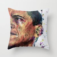obama Throw Pillows featuring OBAMA by benjamin james