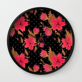 Red flowers 2 Wall Clock