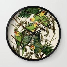Carolina Parrot - John James Audubon's Birds of America Print Wall Clock