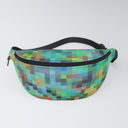 geometric square pixel pattern abstract background in green blue orange Fanny Pack