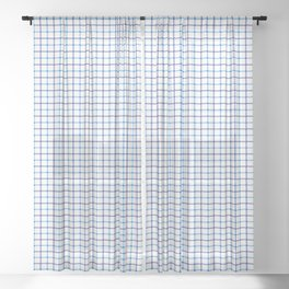 Small Blue & White Large Tattersall Check Pattern Sheer Curtain
