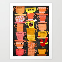 calender Art Prints featuring Stapled Cups Calender 2012 by Darling Planet Earth