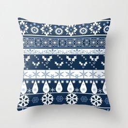 Retro . Christmas pattern . Blue background . Throw Pillow
