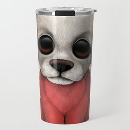 Cute Puppy Dog with flag of Poland Travel Mug