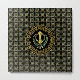 Gold and Marble Khanda symbol Metal Print