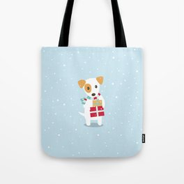Cute Christmas dog holding a stack of gifts Tote Bag