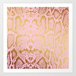 Pink and Gold Snakeskin Print Art Print