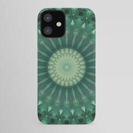 Dark and light green mandala iPhone Case