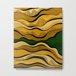 Golden Waves with Interrupting Green Metal Print