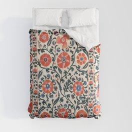 Shakhrisyabz Suzani  Uzbekistan Antique Floral Embroidery Print Comforters