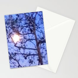 Early Morning Moon and Blue Sky Stationery Cards