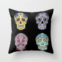 sugar skulls Throw Pillows featuring Sugar Skulls by katherinejago