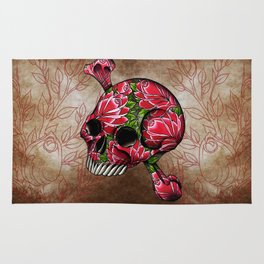 trad rose covered skull Rug