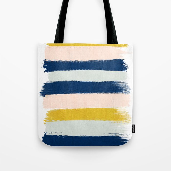 Esther - navy mint gold painted stripes brushstrokes minimal modern canvas art painting Tote Bag