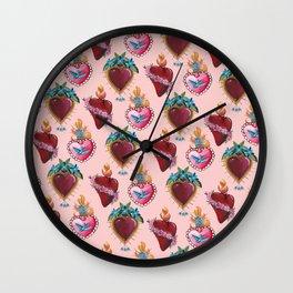 Sacred Hearts on pink  Wall Clock