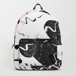 Gray Black Marble Blush White Abstract Glam #1 #trendy #decor #art #society6 Backpack