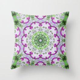 Purple Wildflower Kaleidoscope Art 6 Throw Pillow