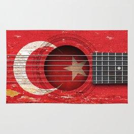 Old Vintage Acoustic Guitar with Turkish Flag Rug