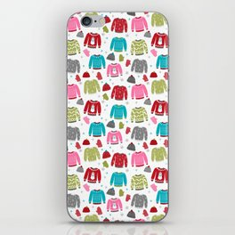 Sweaters festive outfit skiing winter sports cross country ski ugly sweater party iPhone Skin