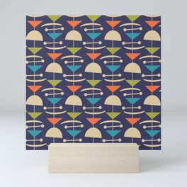 Retro Mid Century Modern Abstract Mobile 646 Blue Orange Olive and Beige Mini Art Print