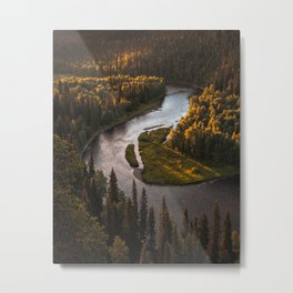 Nordic Forest River Metal Print