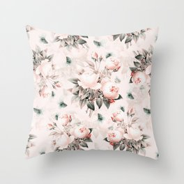 Vintage & Shabby Chic - Pink Redouté Roses Flower Bunches Throw Pillow