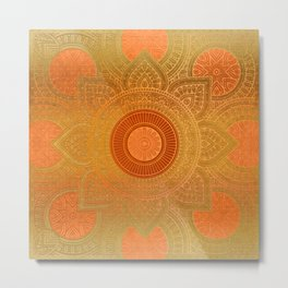 """Savanna Orange-Gold Mandala"" Metal Print"
